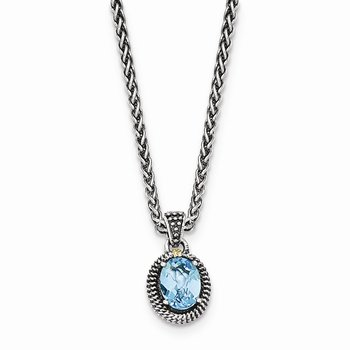 Sterling Silver w/14ky Lt Swiss Blue Topaz Oval Necklace