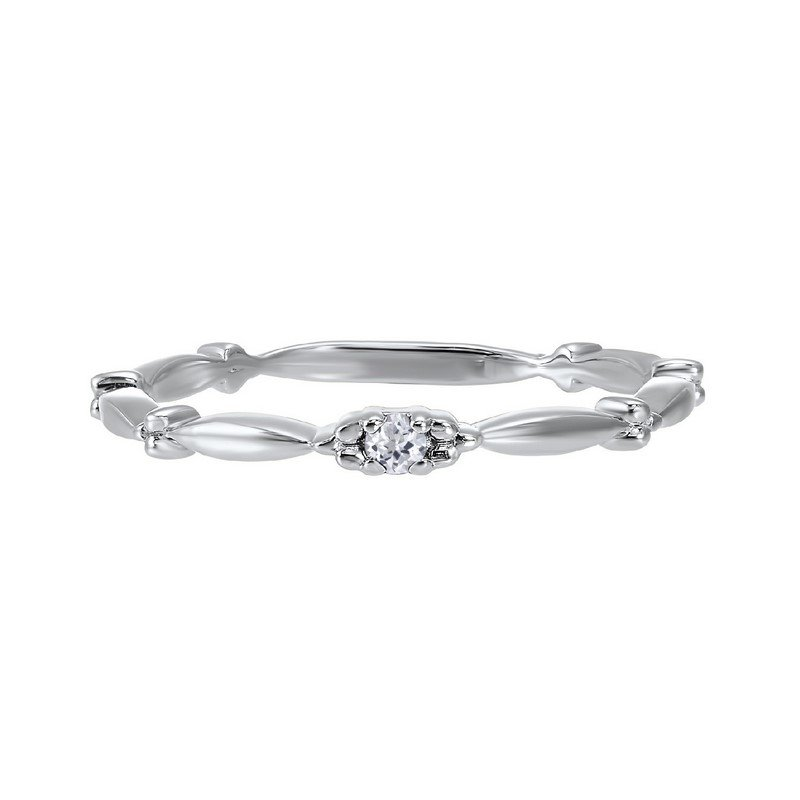 Gems One  White Topaz Solitaire Antique Style Slender Stackable Band in 10k White Gold