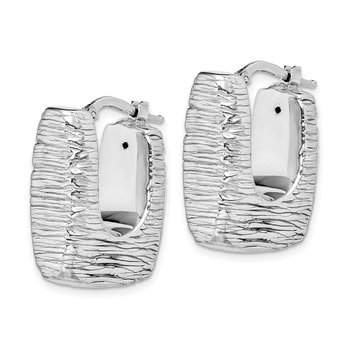 Sterling Silver RH-plated Polished/Textured Sq. Hollow Hoop Earrings