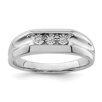 Sterling Silver Rhodium Plated Diamond Men's Ring