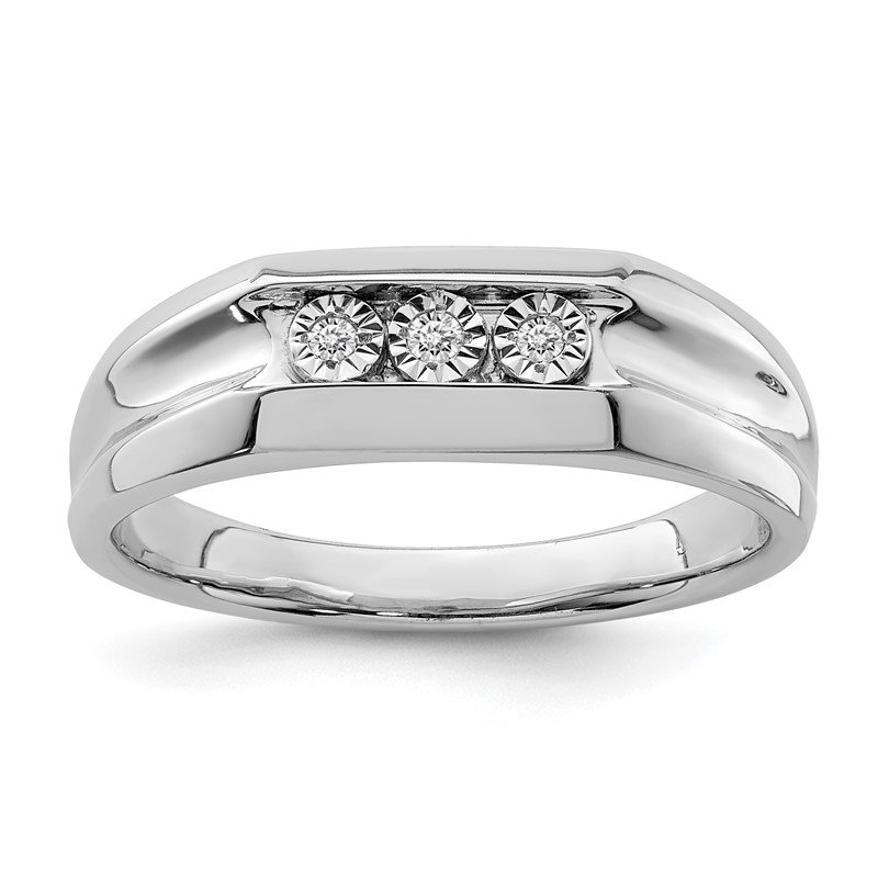 Quality Gold Sterling Silver Rhodium Plated Diamond Men's Ring