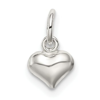 Sterling Silver Polished Puff Heart Charm