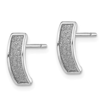 Sterling Silver RH-plate Enamel Glitter Fabric Half Hoop Post Earrings