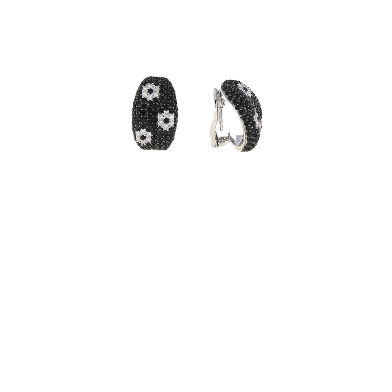 Roberto Coin 18Kt Gold Earrings With Black Sapphires And White Diamond Flowers