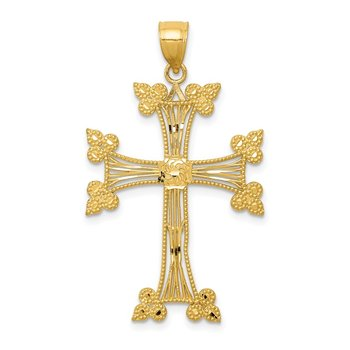 14k Diamond-cut Fancy Cross Pendant