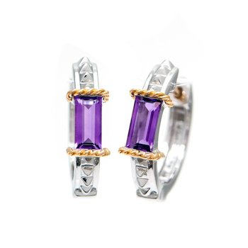 18kt and Sterling Silver Amethyst Earrings