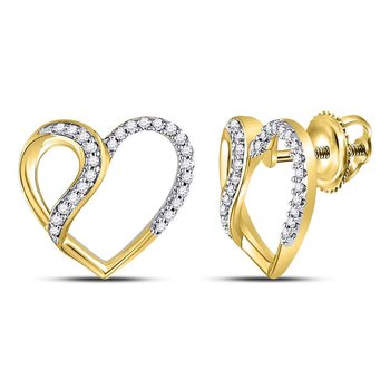 10kt Yellow Gold Womens Round Diamond Heart Stud Earrings 1/6 Cttw