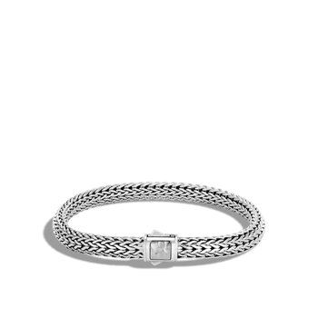 Classic Chain 6.5MM Hammered Clasp Bracelet in Silver