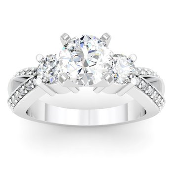 Round Diamond Pave Set Engagement Ring