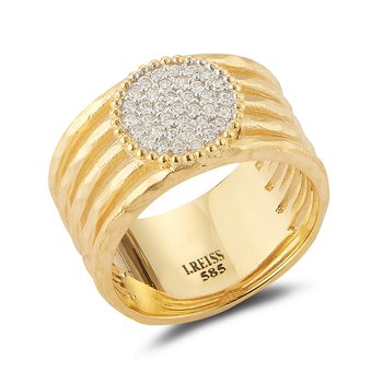 14K-Y CIRC. CNTR. CUT-OUT RING, 0.25CT