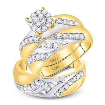14kt Two-tone Gold His & Hers Round Diamond Cluster Matching Bridal Wedding Ring Band Set 1.00 Cttw