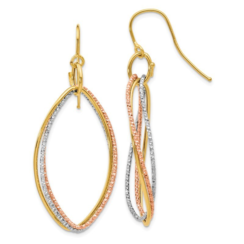 Leslie's Leslie's 10K Tri-color Shepherd Hook Dangle Earrings