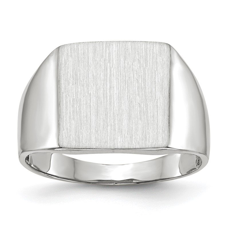 Quality Gold 14k White Gold 13.5x13.0mm Open Back Satin Men's Signet Ring