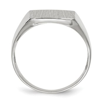14k White Gold 13.5x13.0mm Open Back Satin Men's Signet Ring