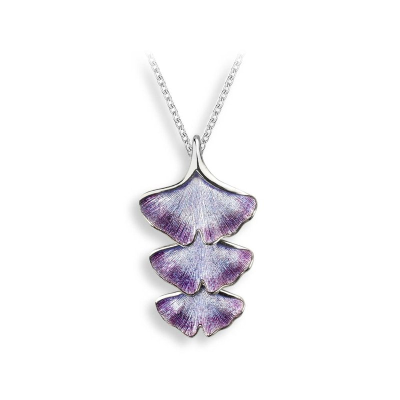Nicole Barr Designs Purple Ginkgo 3-Leaf Necklace.Sterling Silver