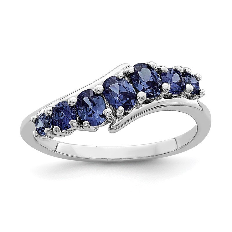 Quality Gold Sterling Silver Rhodium-plated 7-stone Blue CZ Ring