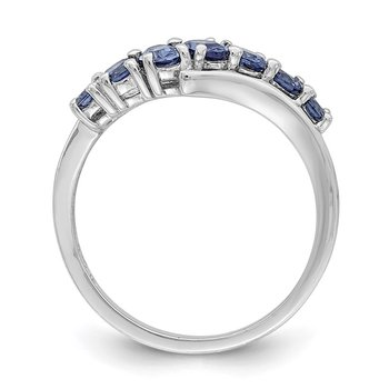 Sterling Silver Rhodium-plated 7-stone Blue CZ Ring