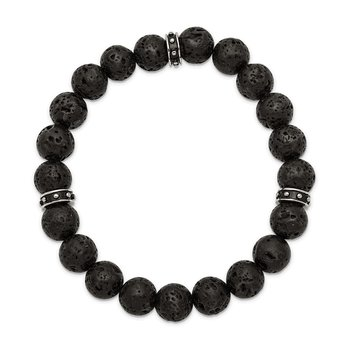Stainless Steel Polished Black Enamel Lave Stone Beads Stretch Bracelet
