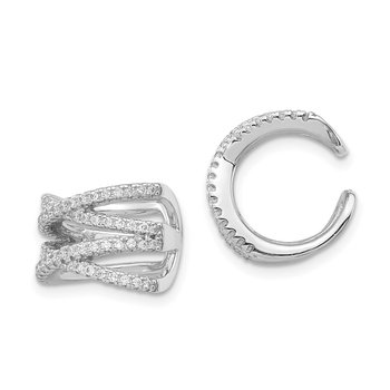 Sterling Silver Rhodium-plated CZ Double -X- Single Ear Cuff