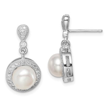 Sterling Silver Rhod-plated 8mm Imitation Shell Pearl CZ Post Earrings