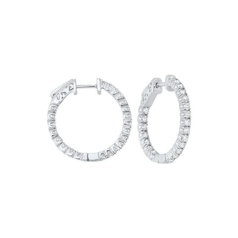 Gems One In-Out Prong Set Diamond Hoop Earrings in 14K White Gold  (1 1/2 ct. tw.) SI3 - G/H
