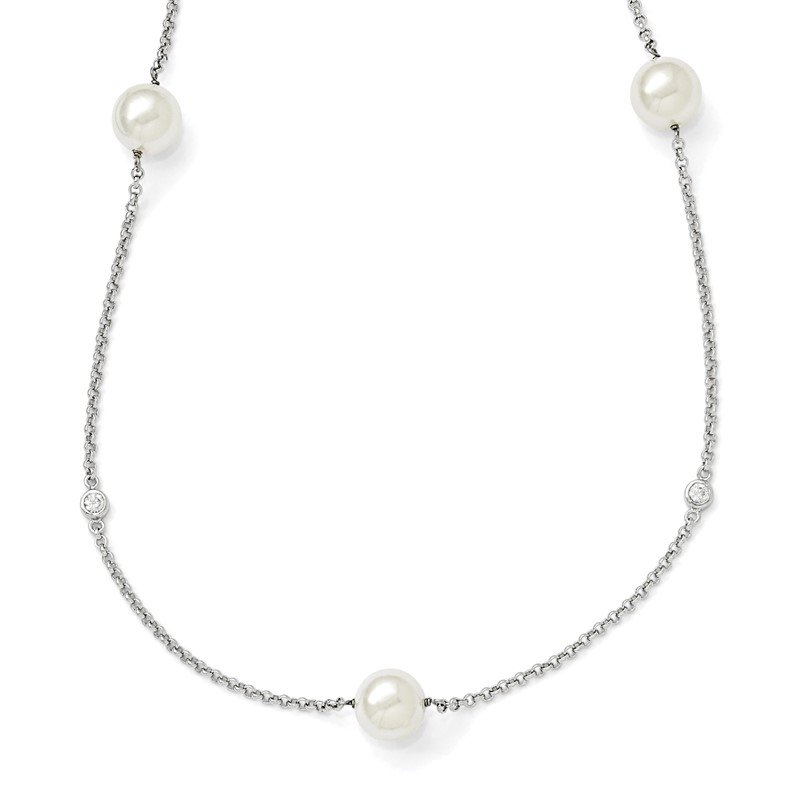 Quality Gold Sterling Silver Majestik Rh-pl 10-11mm Wht Imitat. Shell Pearl & CZ Necklac