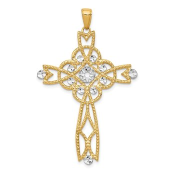 14K w/Rhodium Diamond-cut Beaded Trim Infinity Cross Pendant