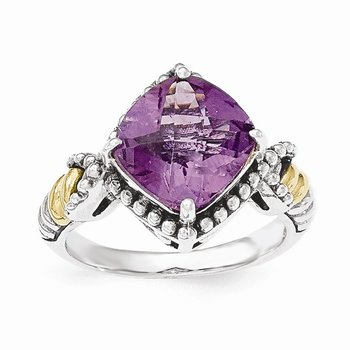 Sterling Silver w/14ky Amethyst Cushion Ring