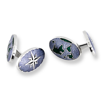 Sterling Silver World-Compass Elbow Cufflinks-Blue