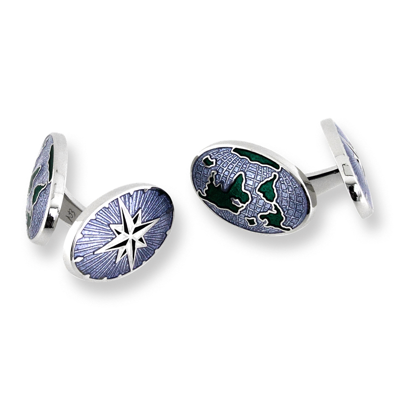 Nicole Barr Designs Blue World - Compass Elbow Cufflinks.Sterling Silver