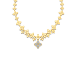 Roberto Coin 18Kt Gold Diamond Link Collar With Drop Flower Pendant