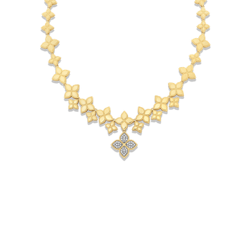 18Kt Gold Diamond Link Collar With Drop Flower Pendant