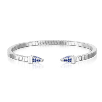 Silver Tubogas Spike Royal Blue CZ Bracelet