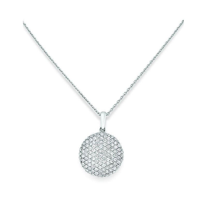 KC Designs Diamond Disc Necklace in 14k White Gold with 109 Diamonds weighing .52ct tw.