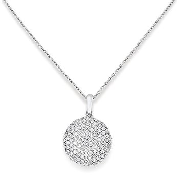 Diamond Disc Necklace in 14k White Gold with 109 Diamonds weighing .52ct tw.