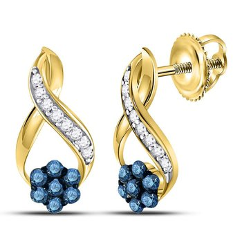 10kt Yellow Gold Womens Round Blue Color Enhanced Diamond Cluster Earrings 1/5 Cttw