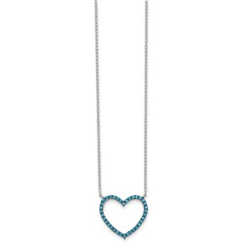 Sterling Silver Rhod/Blk Rhod-plated Crystal Heart w/2IN EXT Necklace