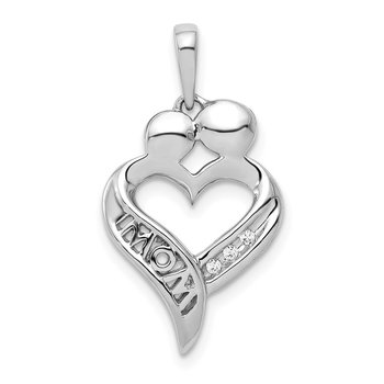 14k White Gold Diamond MOM Heart Pendant