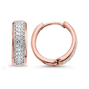 Diamond Double Row Hoop Earrings in 14k Rose Gold (¼ ctw)
