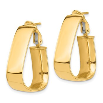 14k High Polished 7mm Omega Back Triangle Hoop Earrings