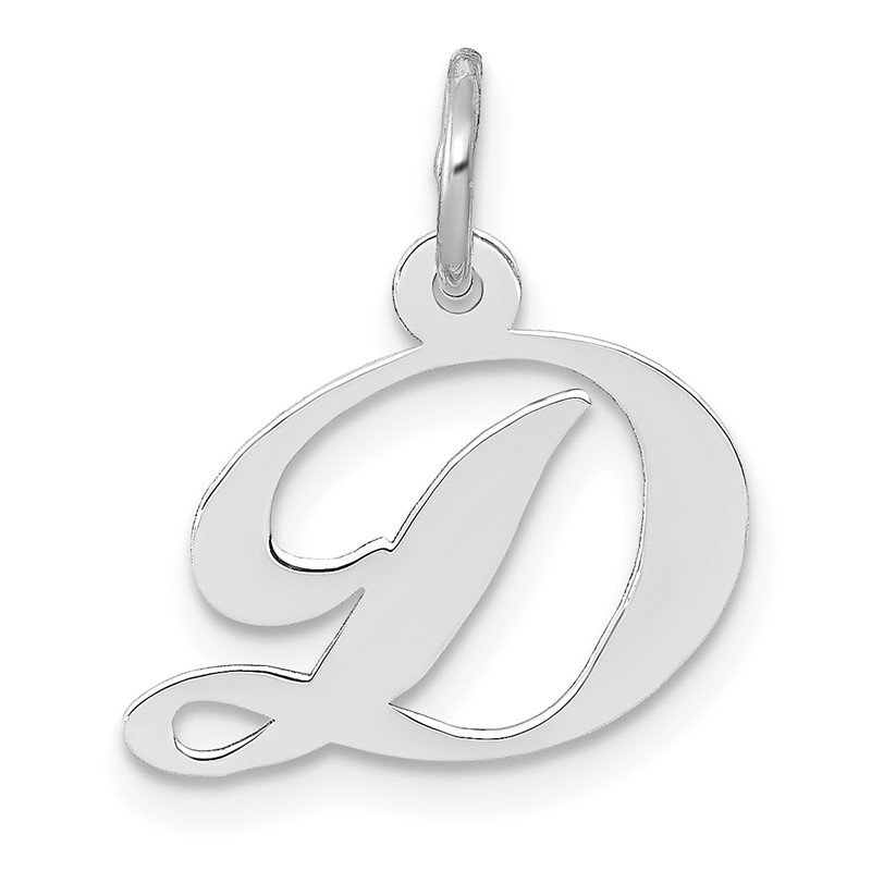Quality Gold 14k White Gold Small Fancy Script Letter D Initial Charm