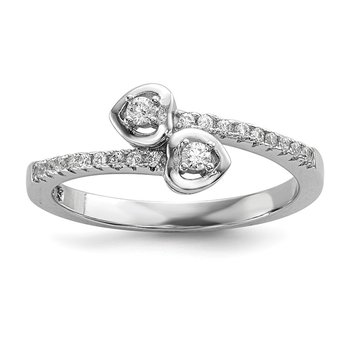 SS Rhodium-Plated CZ Brilliant Embers Heart Ring