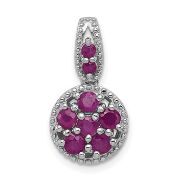 Sterling Silver Rhodium-plated & Glass Filled Ruby Circle Pendant