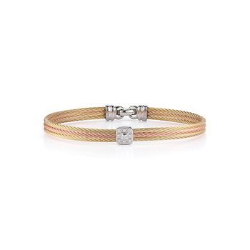 Yellow & Rose Cable Classic Stackable Bracelet with Single Square Station set in 18kt White Gold