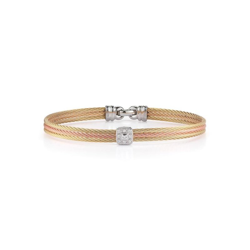 ALOR Yellow & Rose Cable Classic Stackable Bracelet with Single Square Station set in 18kt White Gold