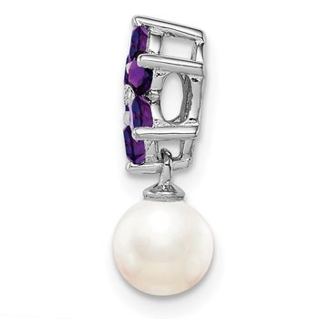 Sterling Silver Rhodium FW Cultured Pearl Amethyst Diamond Chain Slide