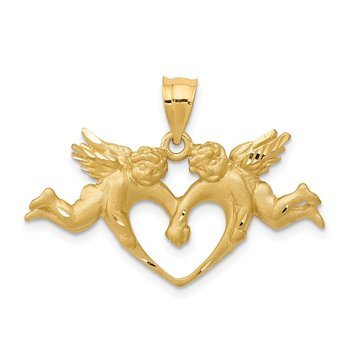 14k Satin Angels Heart Pendant