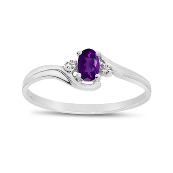 10k White Gold Oval Amethyst And Diamond Ring