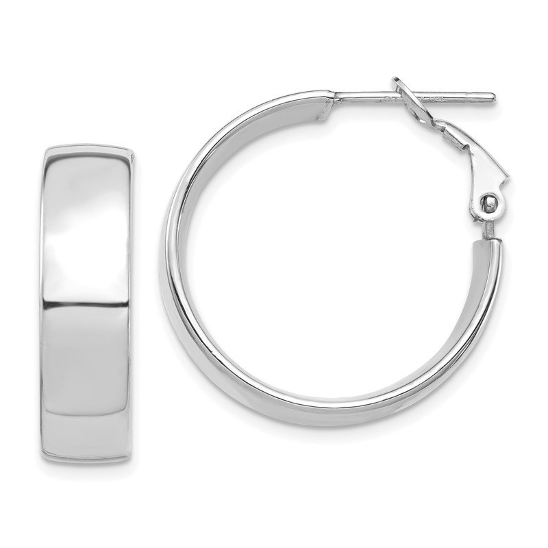 Quality Gold 14k White Gold High Polished 7mm Omega Back Hoop Earrings