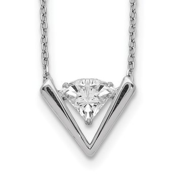 Sterling Silver Moving Swarovski Crystal and 2 in. ext Necklace